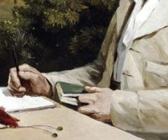 Alfred Russel Wallace at his table