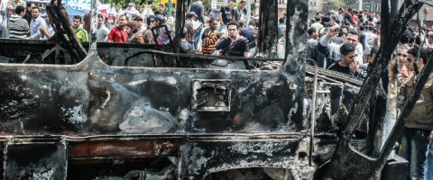 Burned bus Cairo, by Constance Marten, Wild Culture, ©2015