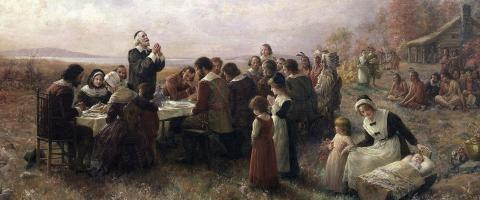 Pilgrim father praying at Thanksgiving, journal of wild culture ©2020