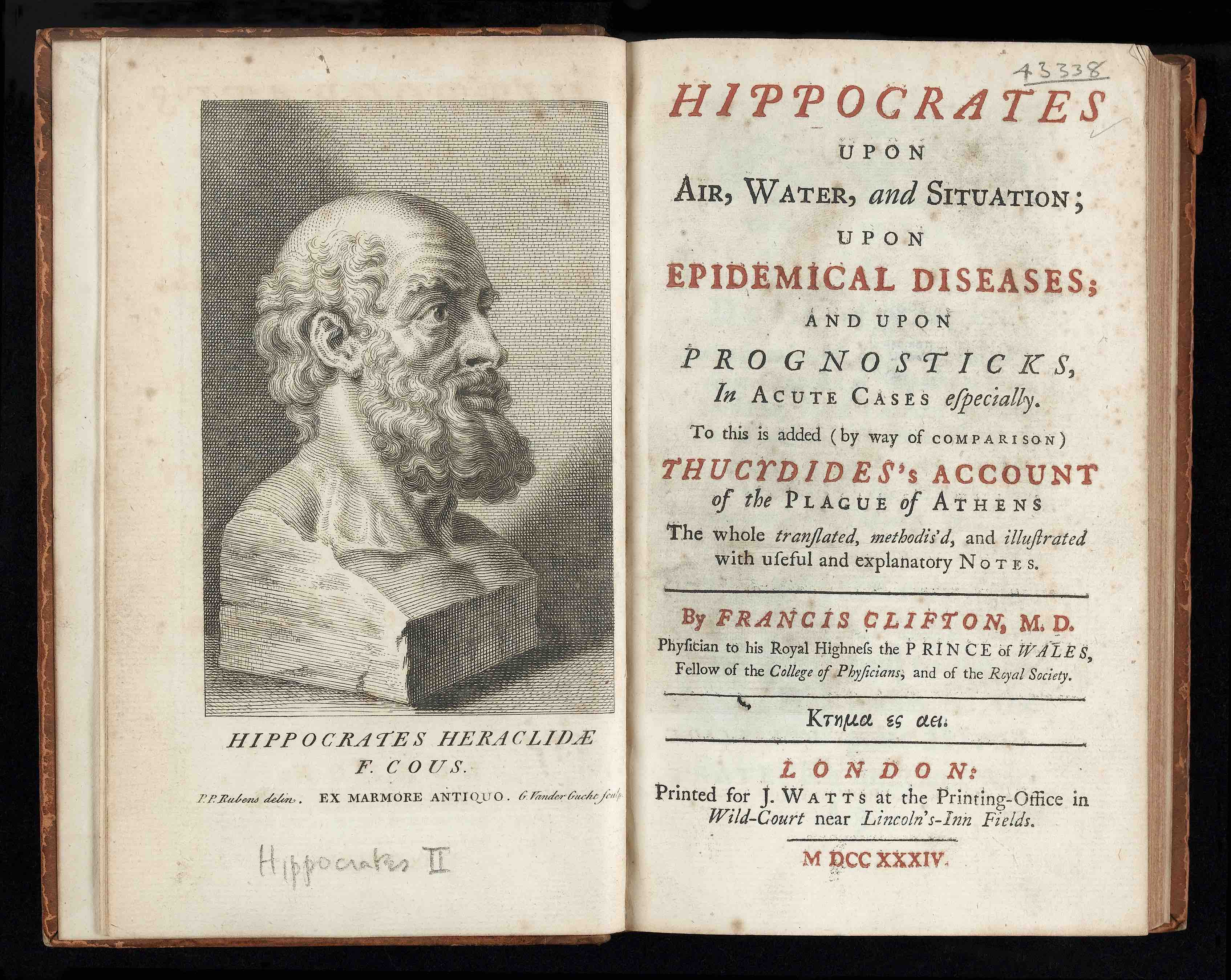 Hippocrates_bust_and_title_page_Wellcome, journal of wild culture ©2020