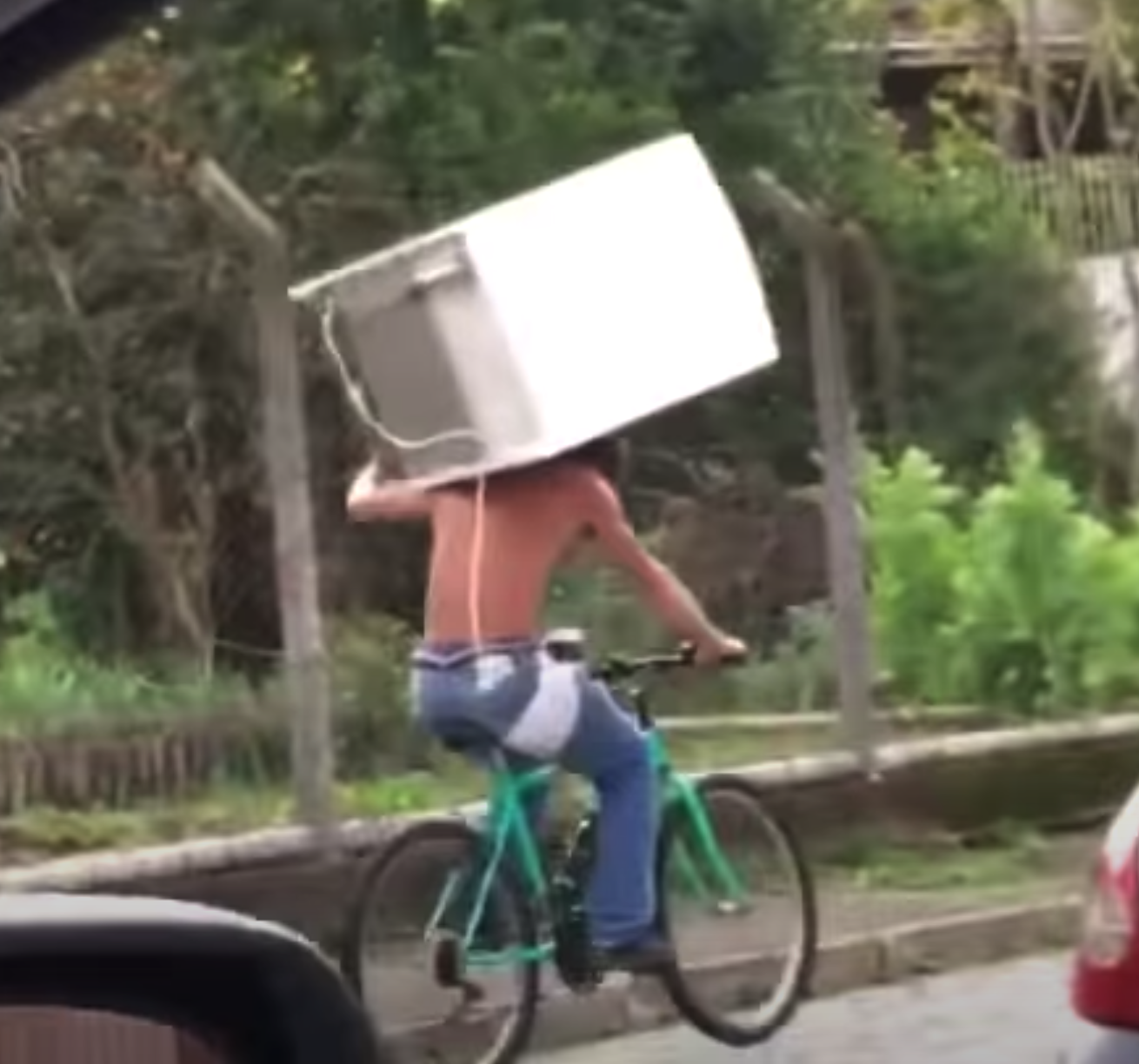 Man carrying refrigerator on bicycle, journal of wild culture, ©2020